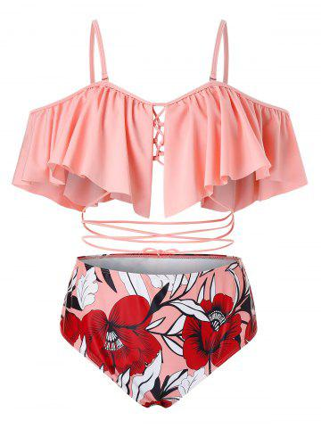Plus Size Ruffled Strappy Floral Two Piece Swimsuit - LIGHT PINK - 2X