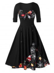 Plus Size Christmas Printed Knotted Vintage Pin Up Dress -