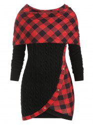 Plus Size Plaid Convertible Cable Knit Sweater -