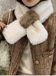 Faux Fur Color-blocking Neck Collar Scarf -