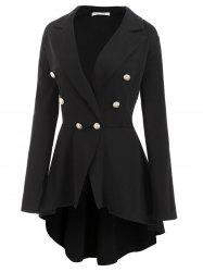 High Low Buttoned Front Skirted Plus Size Blazer -