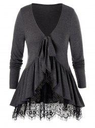 Plus Size Lace Panel Knotted Flounce Ppelum Tee -