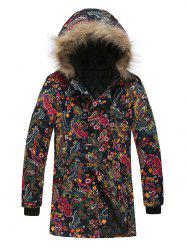 Paisley Floral Tribal Print Faux Fur Hooded Padded Coat -
