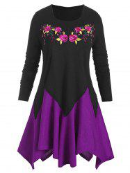 Plus Size Flower Embroidered Colorblock Handkerchief Knitwear -