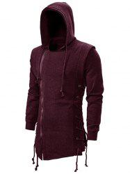Side Lace Up Fleece Gothic Hoodie -