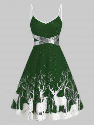 Sequined Reindeer Print Flared Cami Dress -