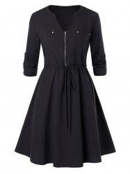 Plus Size Pockets Zipper Dress -