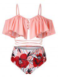 Plus Size Ruffled Strappy Floral Two Piece Swimsuit -