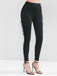 Fringed Solid Fitted Leggings -