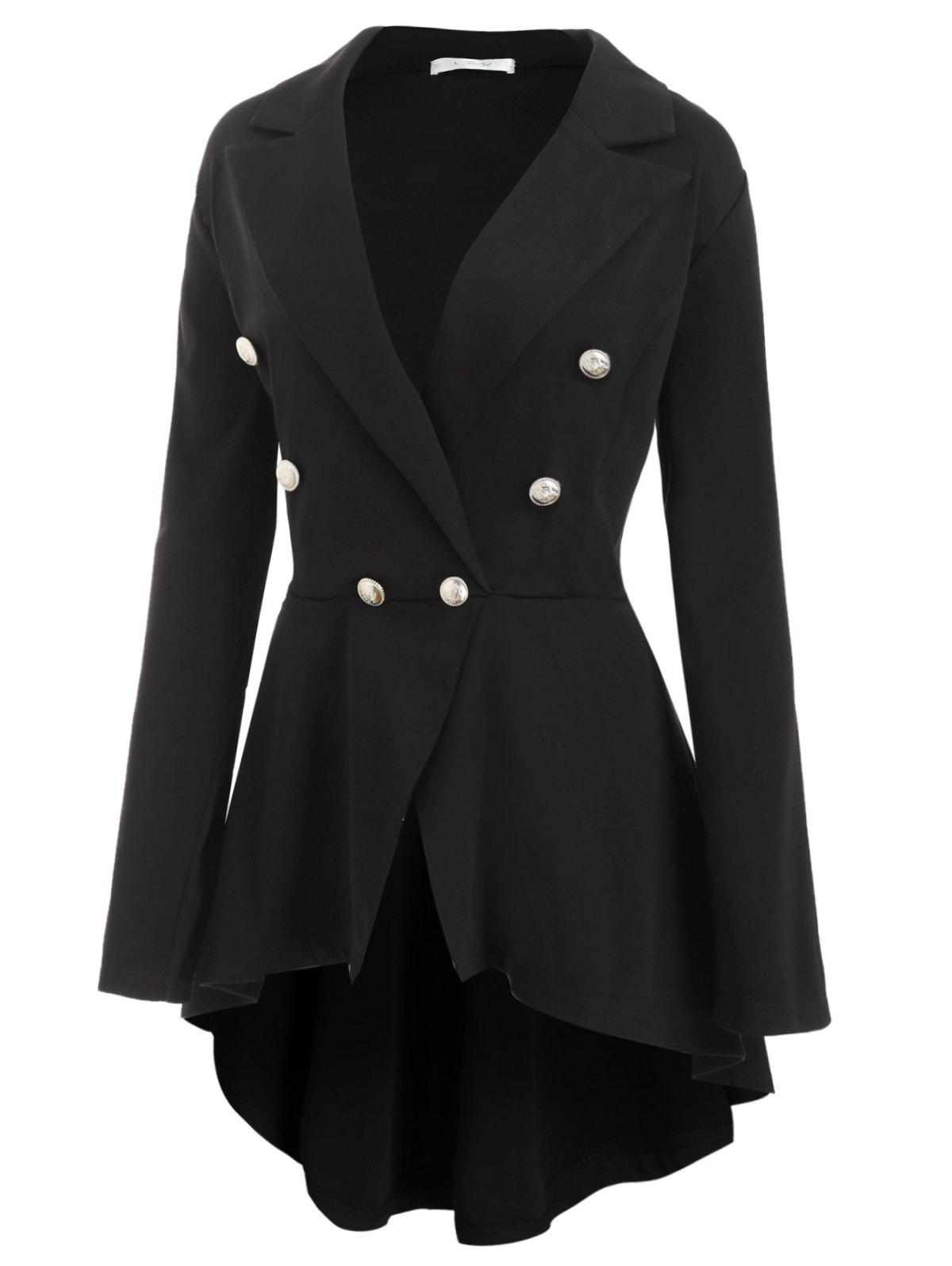 Shop High Low Buttoned Front Skirted Plus Size Blazer
