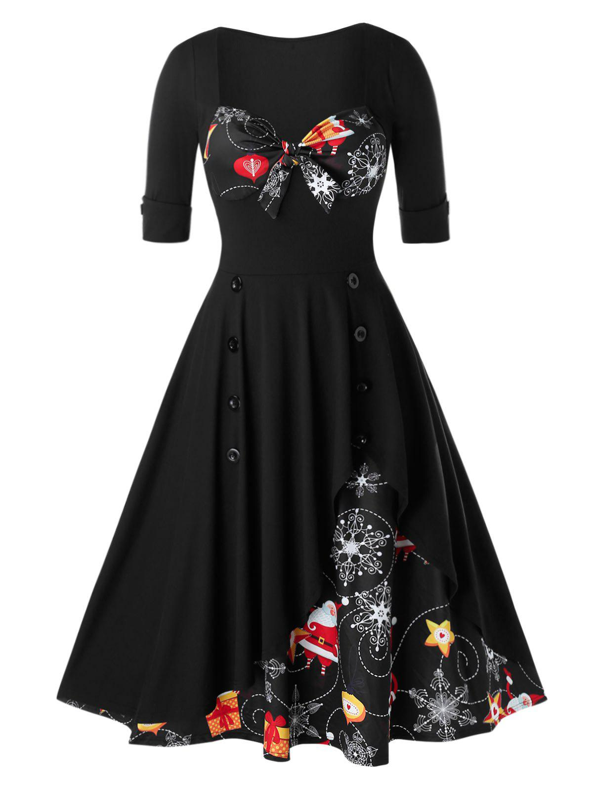 New Plus Size Christmas Printed Knotted Vintage Pin Up Dress