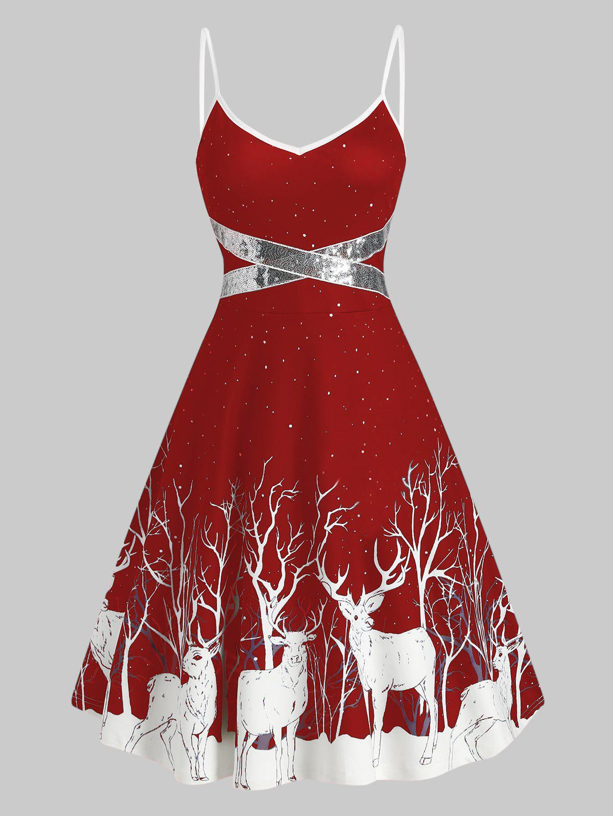 Cheap Sequined Reindeer Print Flared Cami Dress