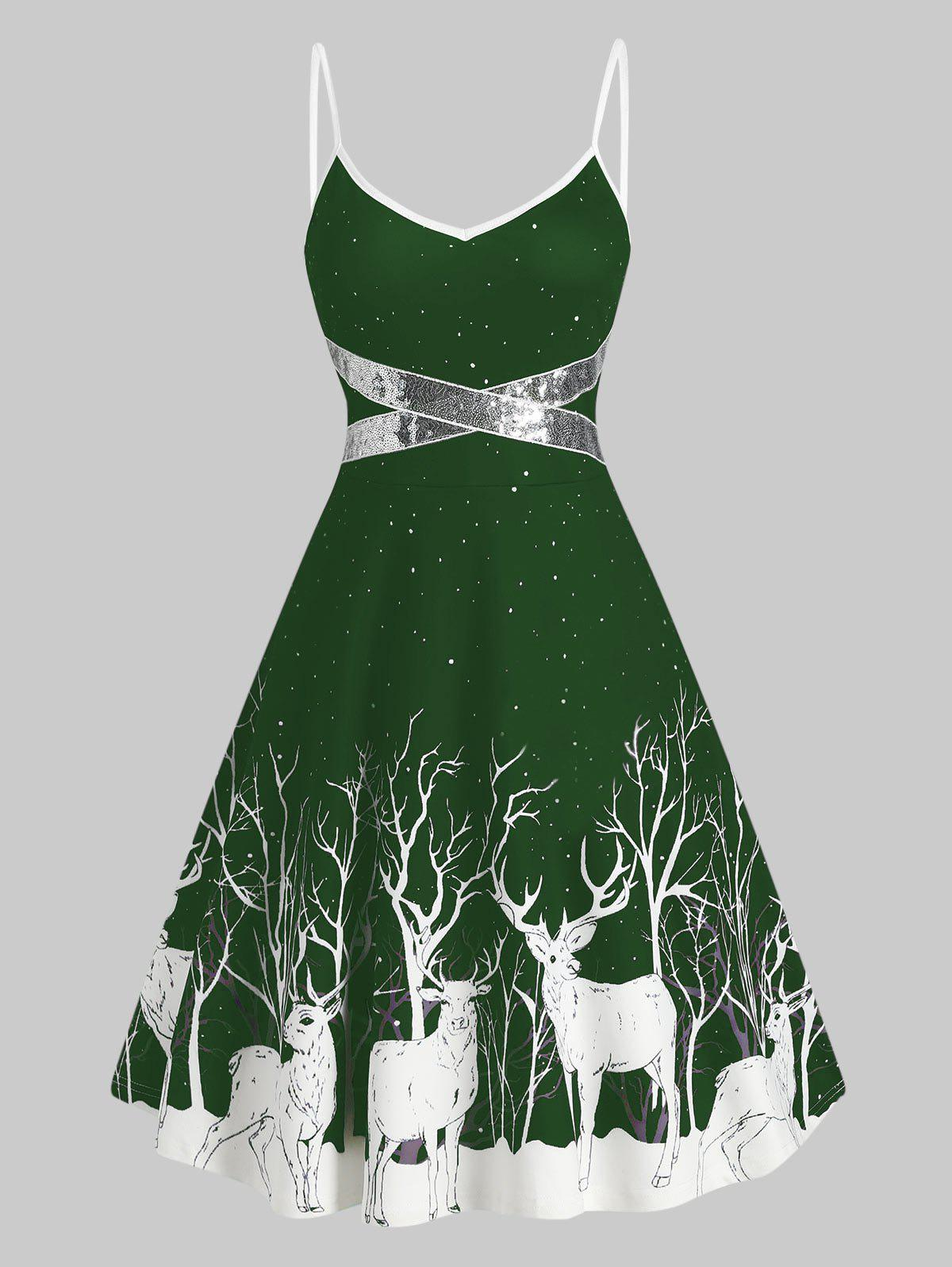 Fashion Sequined Reindeer Print Flared Cami Dress