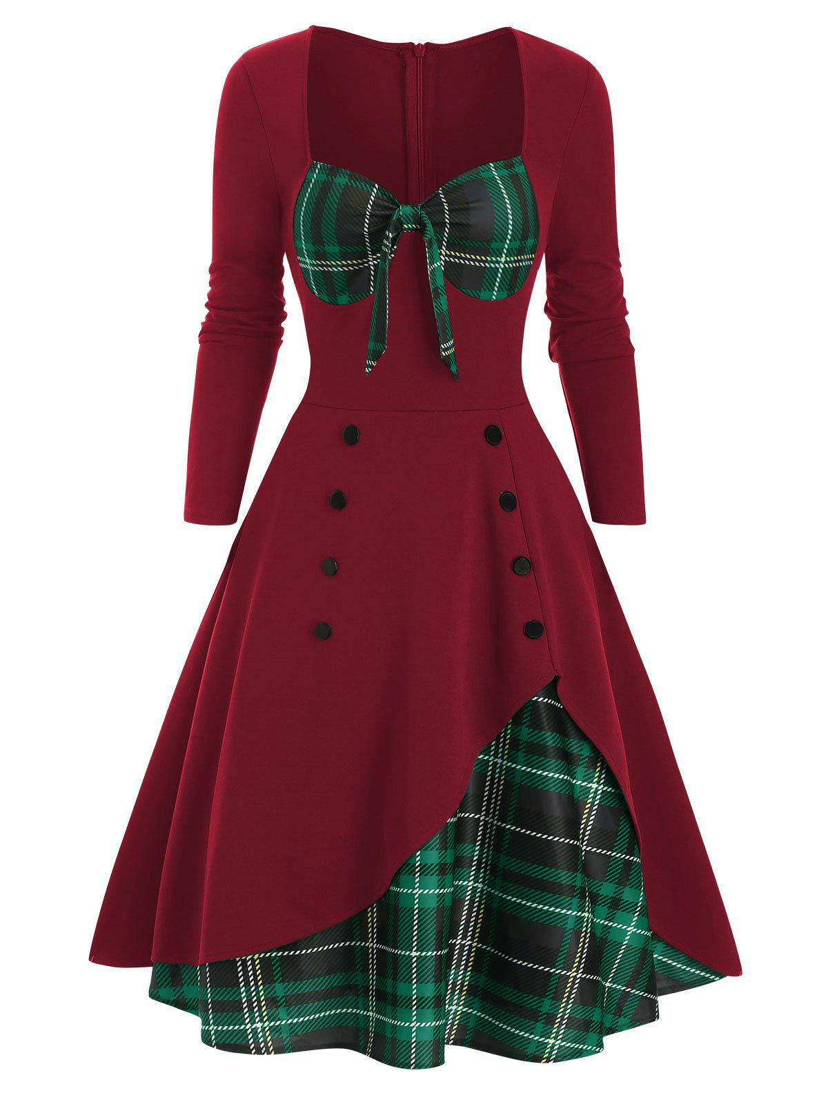 Unique Plaid Button Embellished Bowknot Sweetheart Dress