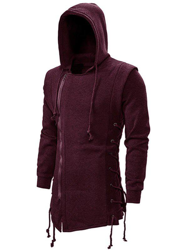 Discount Side Lace Up Fleece Gothic Hoodie