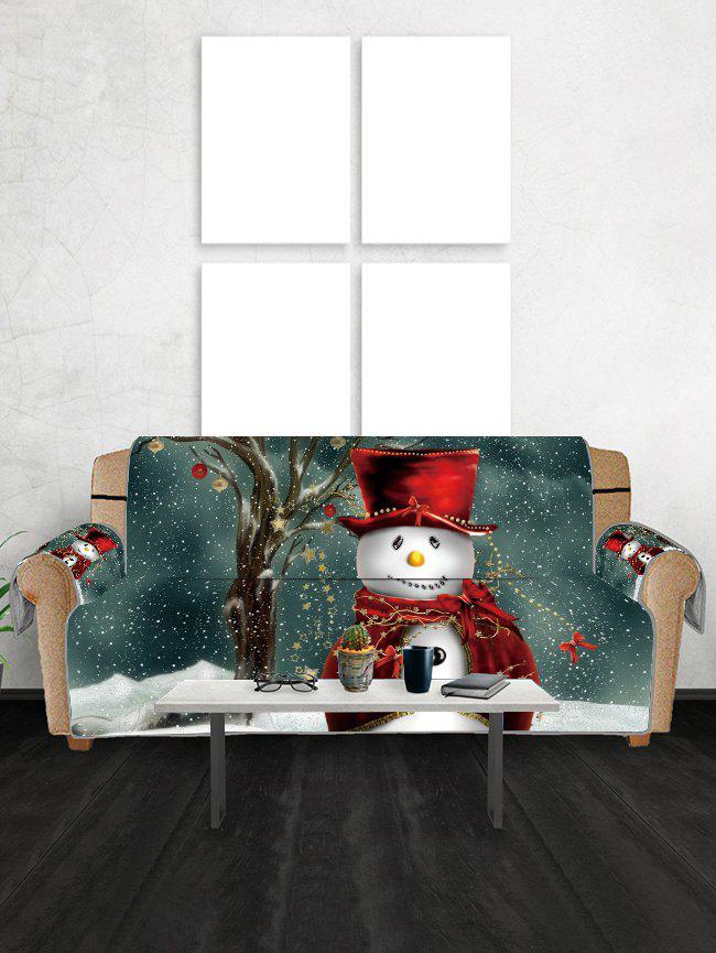 Outfit Christmas Snowman Star Printed Couch Cover