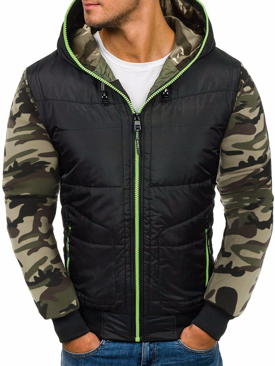 Online Camo Spliced Design Zipper Puffer Jacket