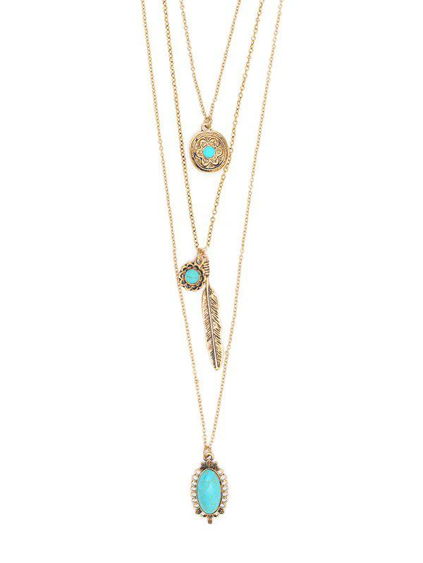 Sale Bohemian Feather Floral Turquoise Multilayered Necklace