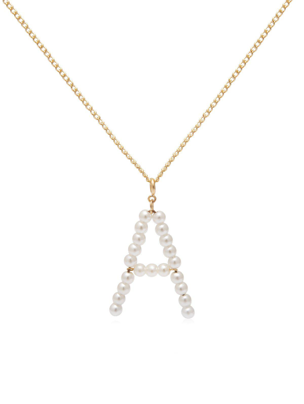 Outfit Brief Faux Pearl Letter Chain Pendant Necklace