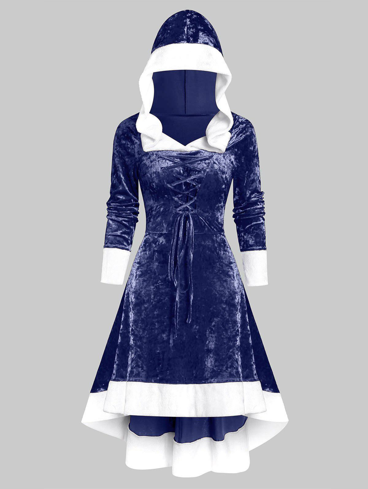 Outfit Faux Fur Trim Lace-up Hooded High Low Flannel Dress