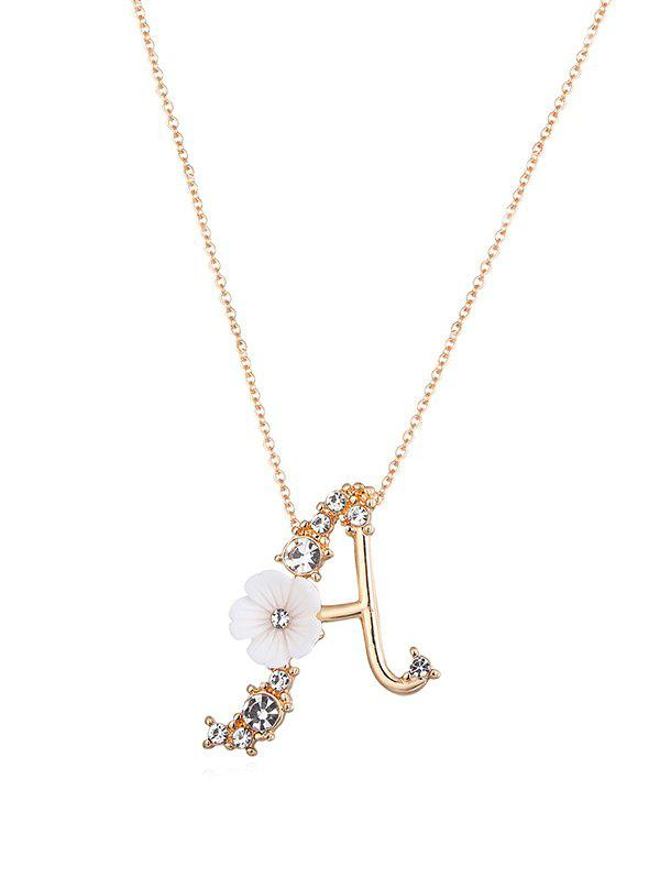 Hot Rhinestone Letter A Flower Pendant Necklace