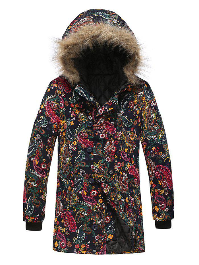 Unique Paisley Floral Tribal Print Faux Fur Hooded Padded Coat
