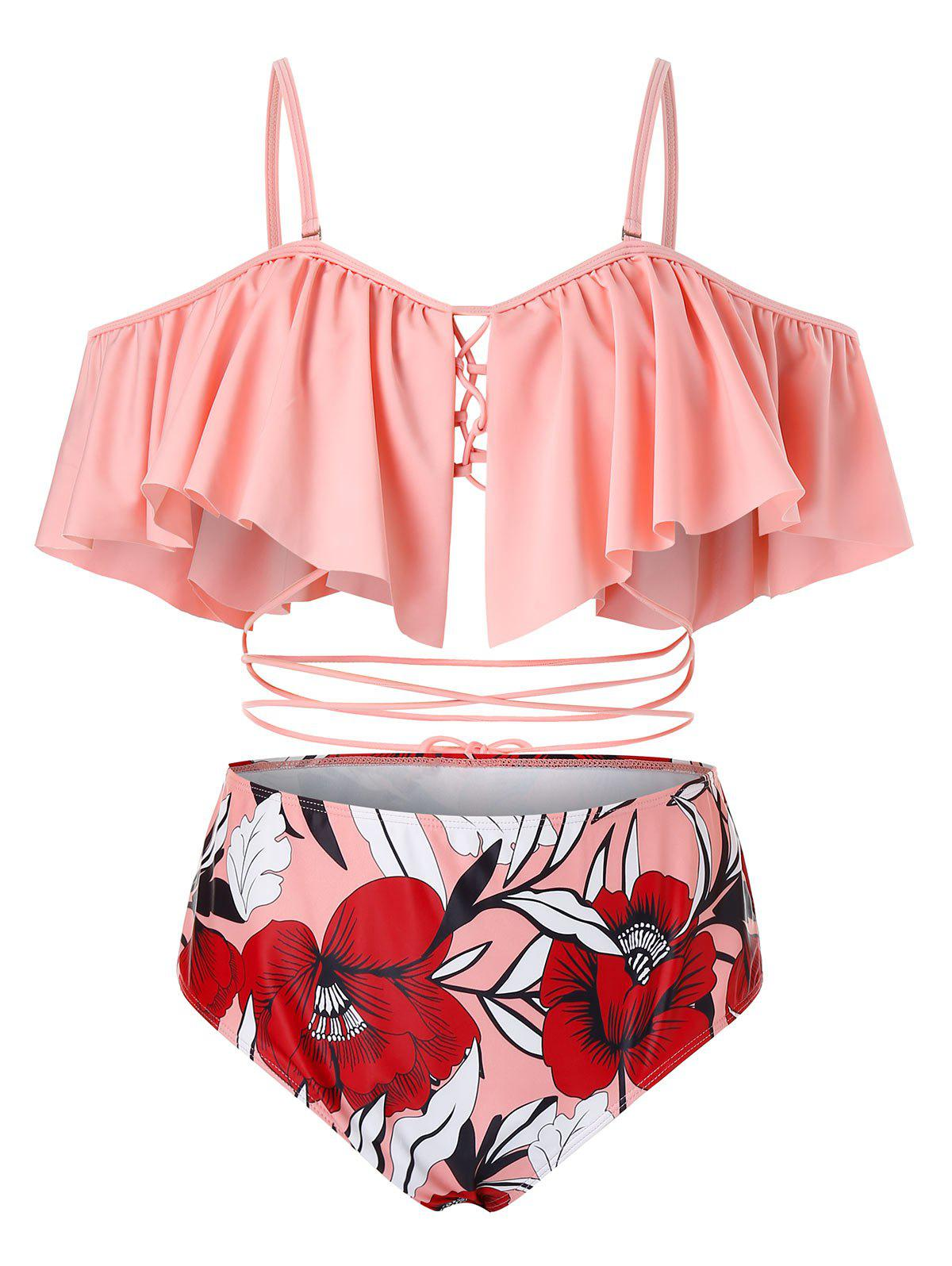 Online Plus Size Ruffled Strappy Floral Tankini Swimsuit