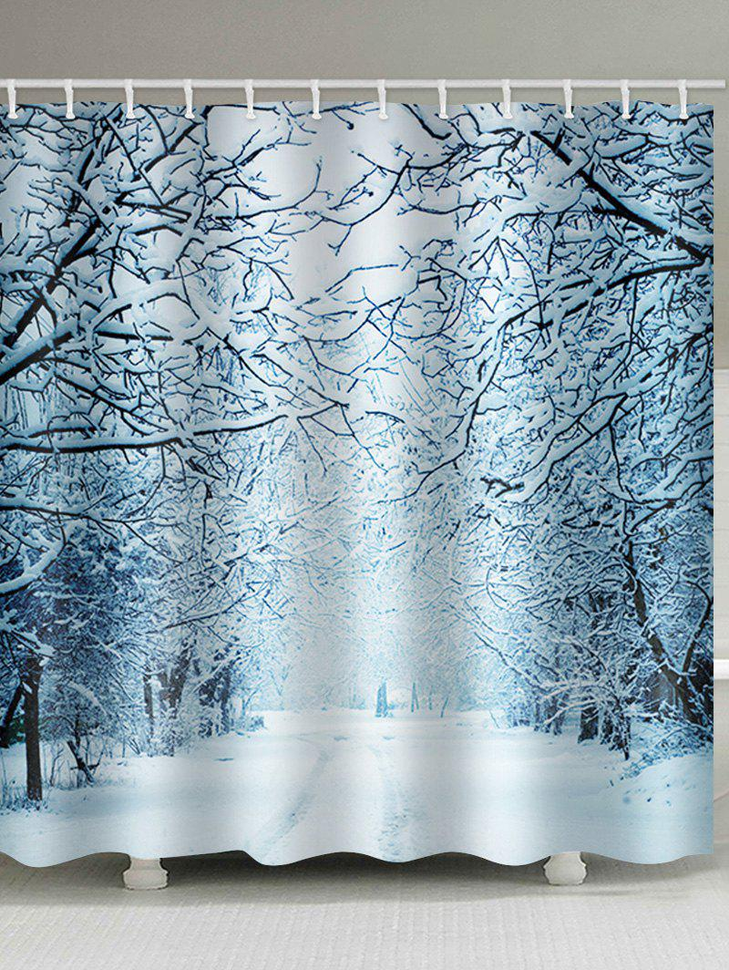 Christmas Snow Forest Waterproof Shower Curtain