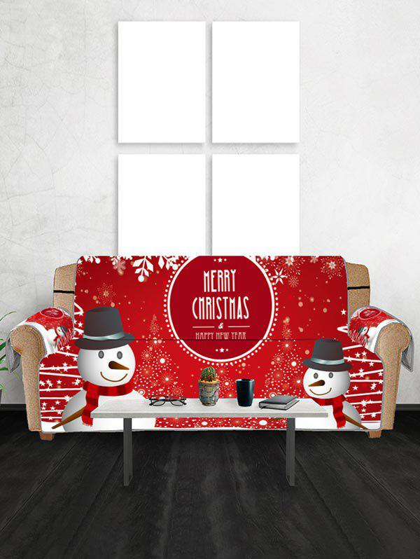 Hot Merry Christmas Snowman Print Couch Cover