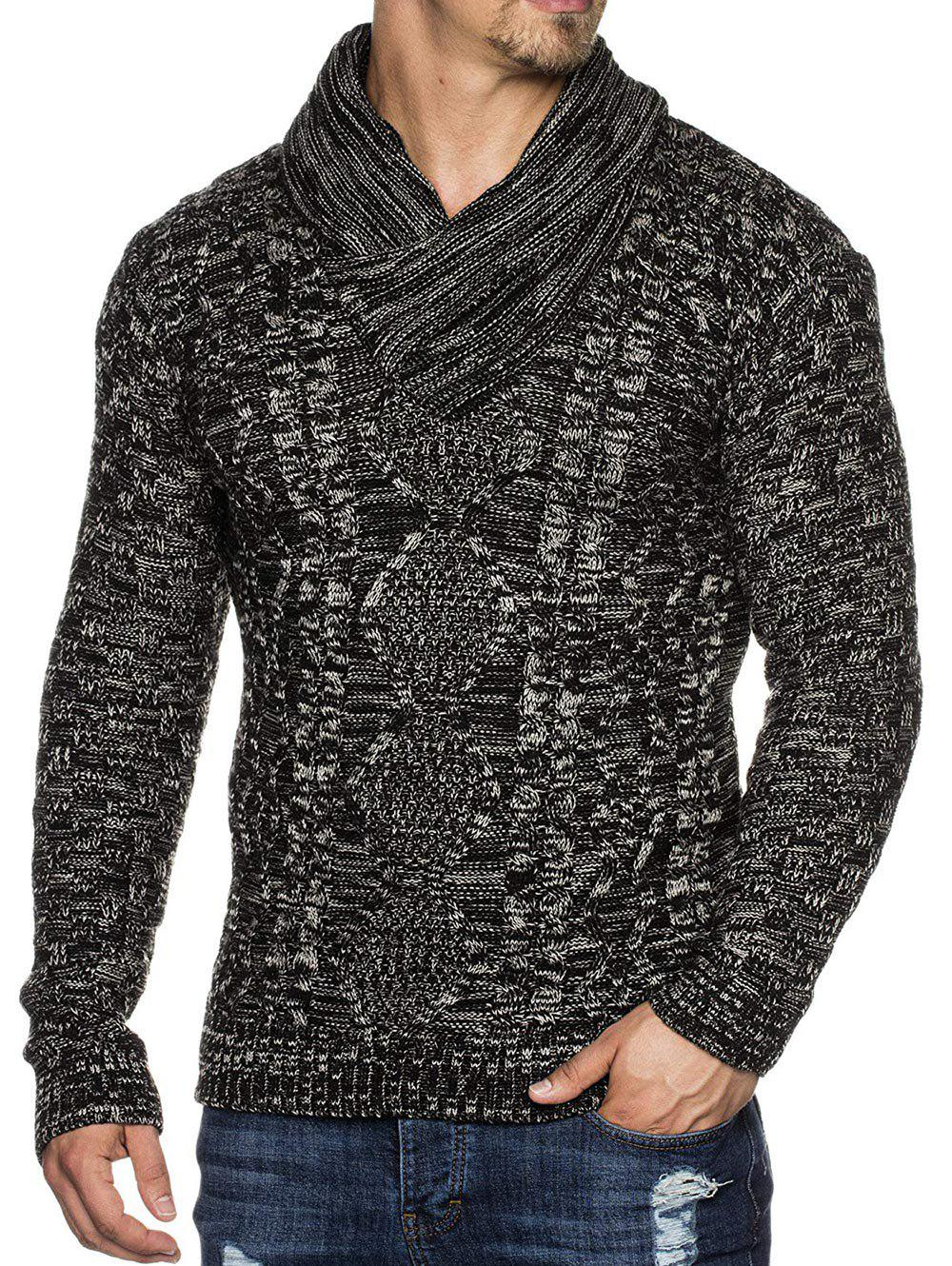 Chic Casual Cable Knit Shawl Collar Sweater