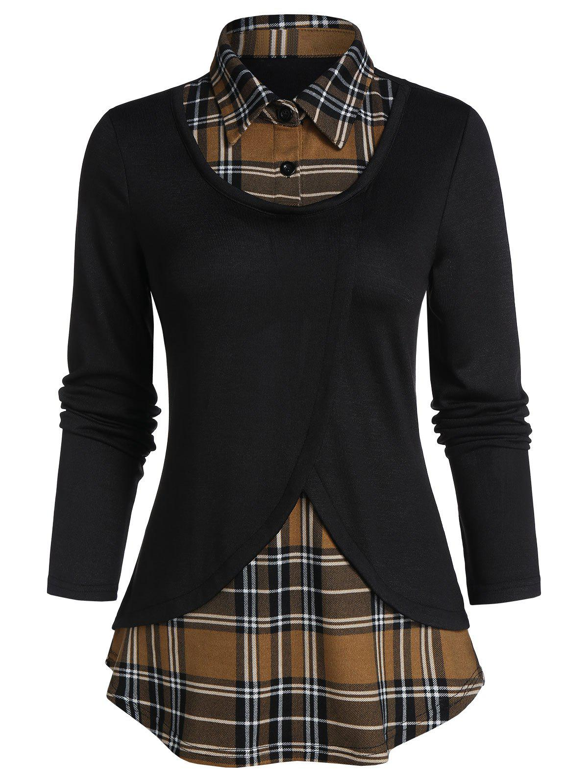 Fancy Plaid Print Curved Hem Faux Twinset Sweater