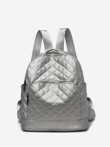 Plain Quilted PU Leather Casual Backpack