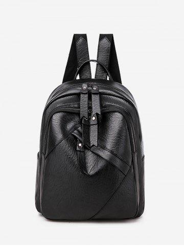Zip Pocket PU Leather College Backpack