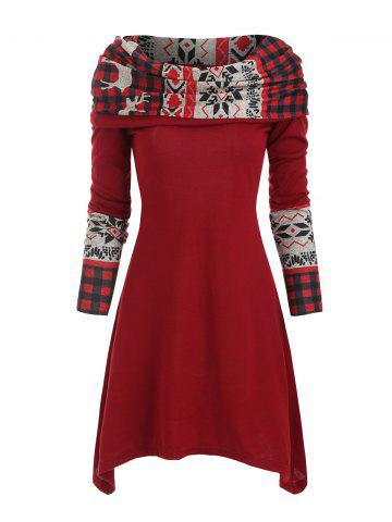 Christmas Elk Plaid Knitted Multiway Mini Dress