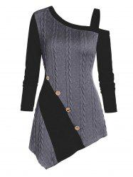 Cable Knit Asymmetric Mock Button Heathered Contrast Sweater -
