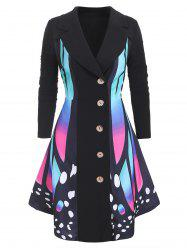 Plus Size Butterfly Print Asymmetrical Coat -