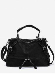 Zip Pocket Top Handle Shoulder Bag -