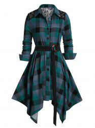 Plus Size Plaid Lace Panel Handkerchief Dress -
