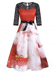 Christmas Santa Claus Lace Panel Keyhole Midi Dress -