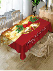Christmas Bowknot Bells Greeting Print Waterproof Fabric Tablecloth -