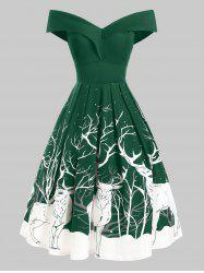 Folded Off Shoulder Christmas Santa Claus Musical Note Dress -