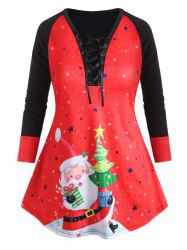 Plus Size Christmas Santa Claus Print Lace Up T Shirt -