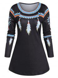 Feather Print Swing T Shirt -