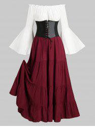 Lace-up Corset Belt Vintage Renaissance Medieval Bell Sleeve Dress -
