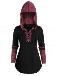 Ribbed Contrast Lace-up Curved Hem Hoodie -