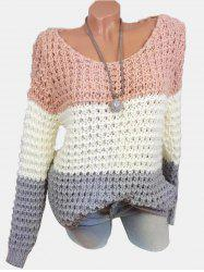 Plus Size Colorblock Chunky Sweater - Rose  2X