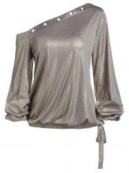 Skew Neck Lantern Sleeve Sparkle T Shirt -