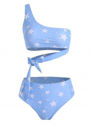 One Shoulder Star Print High Leg Bikini Swimsuit -