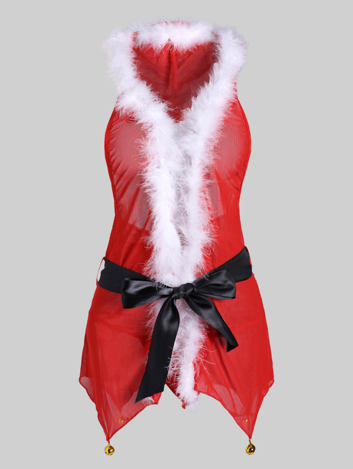 Unique Christmas Fuzzy Bell Belted T Back Plus Size Babydoll