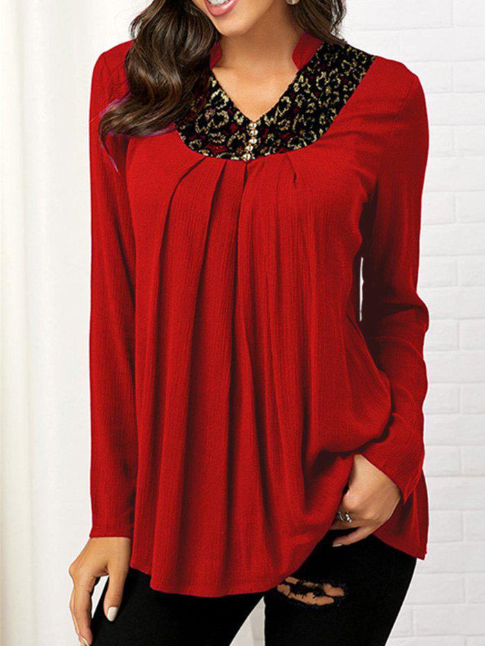 Button Embellished Lace Insert V Neck Blouse 中性品牌